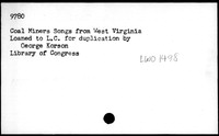 Coal miners songs from West Virginia [sound recording]